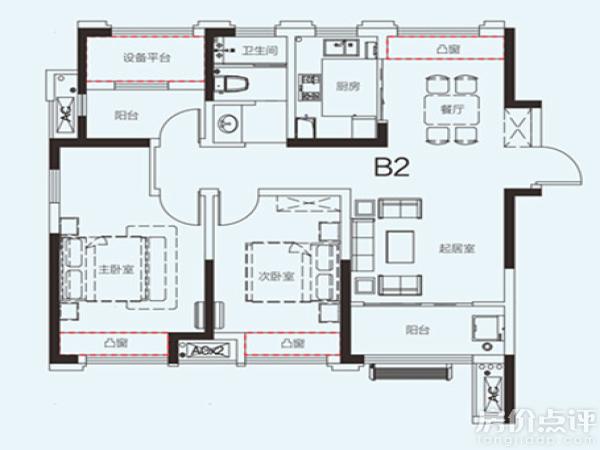 户型图-b2户型100平米三房两厅一卫